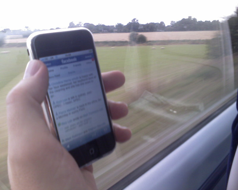 Facebook on iPhone on edge on train from London to Bath!